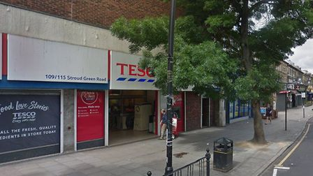 The man was attacked in Stroud Green Road, near Tesco Metro. Picture: Google Earth