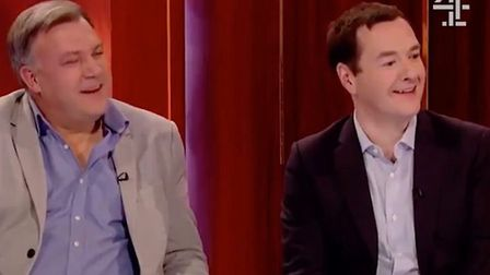 Ed Balls and George Osborne appear on Channel 4 with Robert Rinder. Photograph: Channel 4.