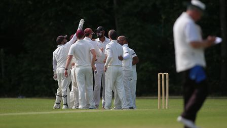 Highgate players celebrate a wicket in the Middlesex County Division Two at Shepherd's Cot (pic: Geo
