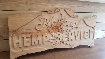 National Hemp Service sign. Picture: Tommy Corbyn and Chloe Kerslake-Smith will open their National