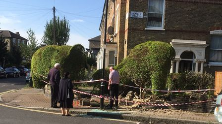 A vehicle crashed into a topiary elephant in Ambler Road last night. Picture: Martin Evans @evansma
