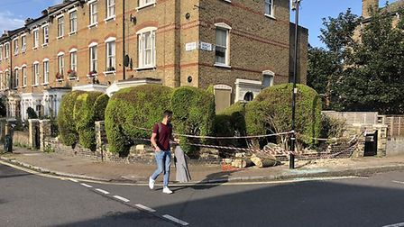 A vehicle crashed into a wall in Romilly Road last night, damaging the head of a topiary elephant. P