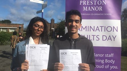 Star Preston Manor pupils Jenna Patel and Reevesh Shrestha. Picture: Nathalie Raffray