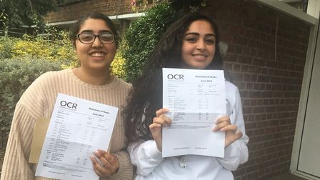 Preston Manor pupils Fiza Nawaz and Fatima Jeelani who both achieved A*A*A in their A-Levels. Pictur
