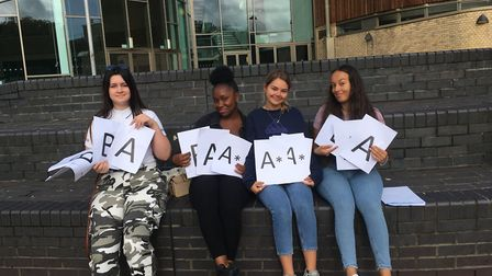 Students at City of London Academy Highbury Grove celebrate their getting their A-levels. Picture: