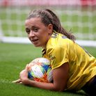 Arsenal's Katie McCabe reacts after a chance on goal during the Emirates Cup match at the Emirates S