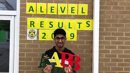 Sameer Hamza celebrates getting his A-levels at St Aloysius College. Picture: St Aloysius College