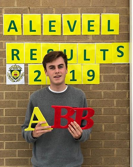Anthony O'Malley celebrates getting his A-levels at St Aloysius College. Picture: St Aloysius Colleg