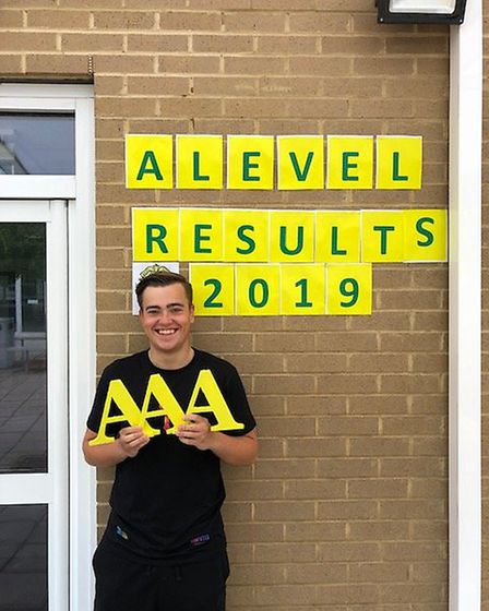 Dominic Kitson celebrates getting his A-levels at St Aloysius College. Picture: St Aloysius College
