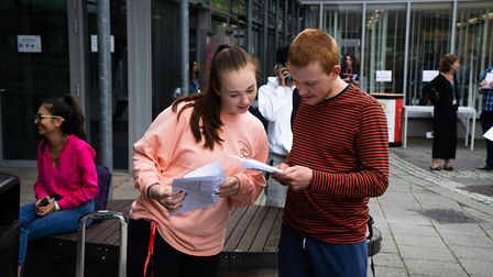 City and Islington College students on A-level results day 2019. Picture: Joshua Thurston