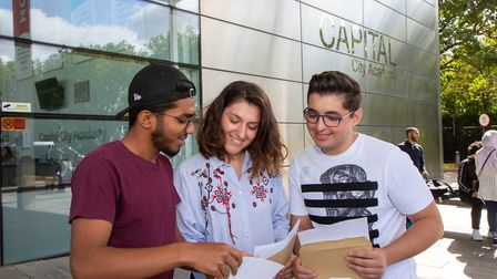 L-R: Hrithik Carsane, Denisa Lasku and Antonio Caragheorghe get their A-Level results at Capital Cit