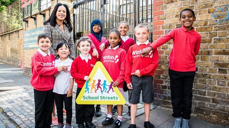 Pupils at Winton Primary School, Islington's 10th school with a school street, with Cllr Claudia Web