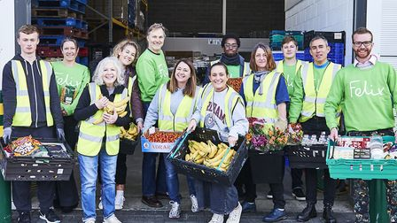 Volunteers and staff at food redistribution charity The Felix Project. Picture: The Felix Project