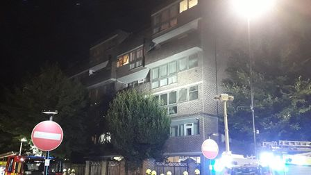 60 firefighters tackled a blazing flat in Compton Street last night. Picture: London Fire Bridgade