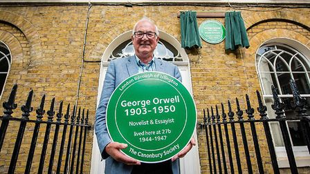 George Orwell's son Richard Blair outside the author's former home in Canonbury Square in 2016. Pict