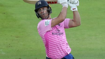AB de Villiers of Middlesex hits out (pic Nick Wood/TGS Photo)