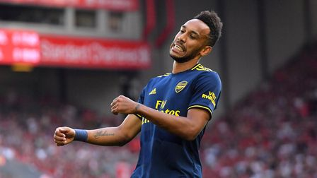 Arsenal's Pierre-Emerick Aubameyang appears frustrated during the Premier League match at Anfield, L