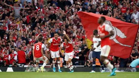 Arsenal's Pierre-Emerick Aubameyang (second left) celebrates scoring his side's second goal of the g