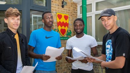GCSE results at Newman Catholic CollegeHigh achievers L-R: Vladut Jacob, Fuad Mohamed, Ericsson As