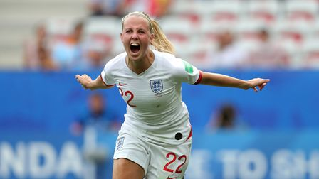 Arsenal's Beth Mead celebrates a goal for England (pic Richard Sellers/PA)