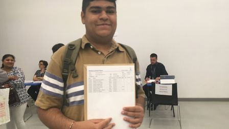 Very happy Kriyes Mahendra had four 9s among this grades at Ark Elvin Academy. Picture: Nathalie Raf