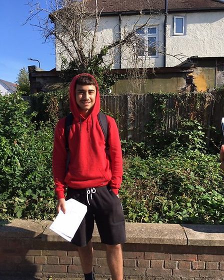 No grade damage: Amar Mahmood broke his hand two days before GCSE exams started at Claremont HIgh Sc
