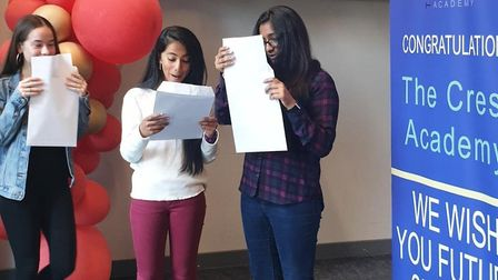 Crest pupils Martyna Lipa,Yusra Hassan and Siya Patel with their results. Picture: Crest Academy