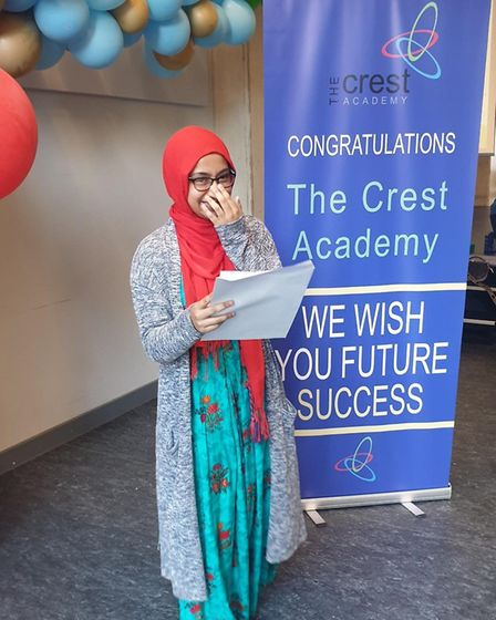 Crest pupil Humayrah Amod with her GCSE results. Picture: Crest Academy