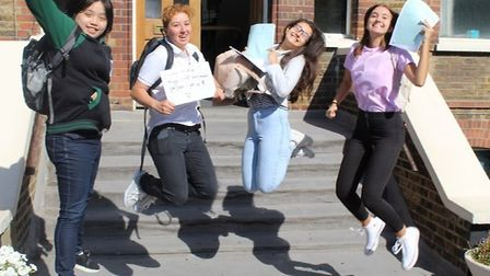 Selgian-Jane Salunga, Marianne Santo, Jesica Silva-Ortiz and Aleksandra Lesniowska jump for joy at t