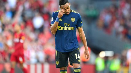 Arsenal's Pierre-Emerick Aubameyang after the final whistle during the Premier League match at Anfie