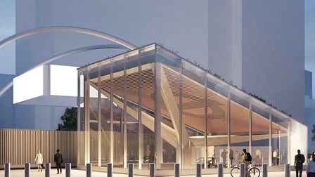An artist's impression of the new-look Old Street Tube station entrance. Picture: TfL