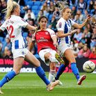 Arsenal's Danielle van de Donk scores her sides fourth goal of the match during the FA Women's Super
