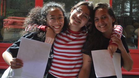 Top scoring pupils Leila Enoki, Ana Morales, Fernanda Pereira from Queen's Park Community School. Pi