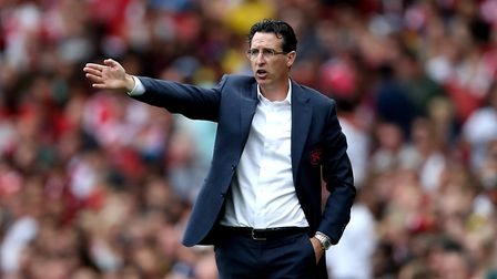 Arsenal's manager Unai Emery gestures on the touchline during the Emirates Cup match at the Emirates
