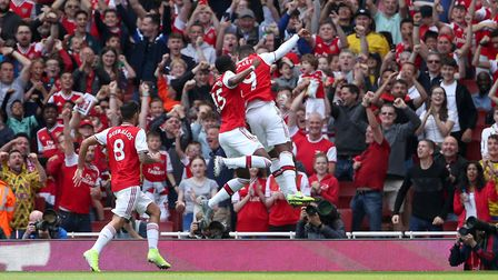 Arsenal's Alexandre Lacazette (right) celebrates scoring his side's first goal of the game during th