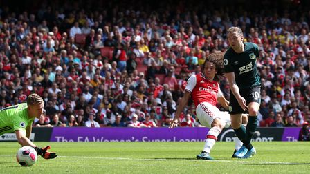 Burnley's Ashley Barnes scores his side's first goal of the game during the Premier League match at