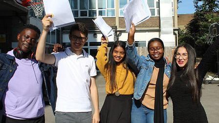 Pupils with their GCSE results at Michaela Community School. Picture: @mike-taylor11