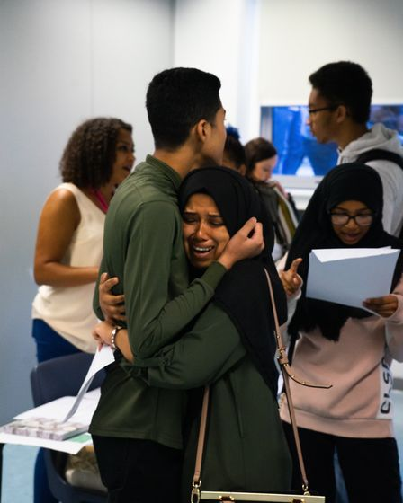 GCSE results day at St Aloysius' College, Archway. Picture: Joshua Thurston