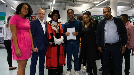 GCSE results day at St Aloysius' College, Archway. Zaki Ibrahim-Johare, centre, with among others ma