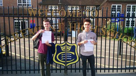 Claremont High School pupils Henry Caushi and Kareem Omar achieved 8 A* and A grades at A-level betw
