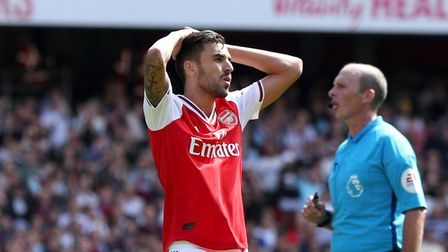 Arsenal's Dani Ceballos reacts during the Premier League match at The Emirates Stadium, London. Pict