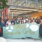 The Save Carlton/Granville Centre campaigners inside Brent Civic Centre after a scrutiny meeting on