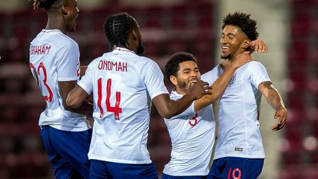 Arsenal's Reiss Nelson (right) celebrates scoring for England under-21s against Scotland (pic Craig