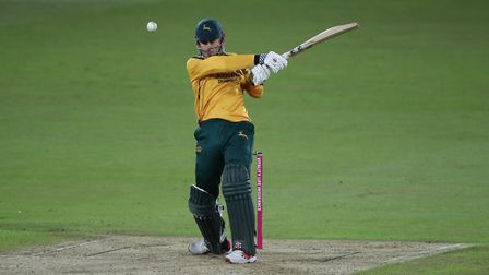 Nottinghamshire Outlaws' Alex Hales hits out during his innings during the Vitality Blast T20 Quarte