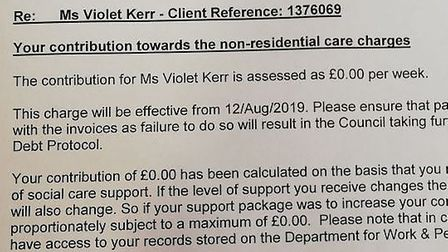A letter Violet Kerr was sent recognising that she should pay nothing for carers – but only after sh