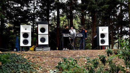 DJs in the woods from left Ash Tres, Konnect and Benny B-Sides. Picture: Polly Hancock