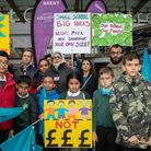 Roe Green Strathcona School's protest outside Brent Civic Centre as the council's cabinet decides th