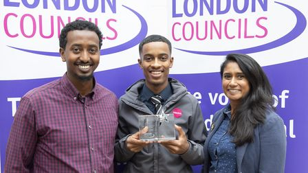 Usama Mohamed with his award. Picture: Islington Council