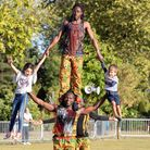 Acrobats wow the crowds at Queen's Park Day. Picture: Jonathan Goldberg