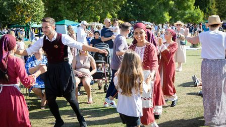 Queen's Park Day: the Elites, London's Greek dance troupe, entertain the crowds. Picture: Jonathan G